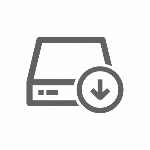 arrow, down, download, drive, external drive, server icon