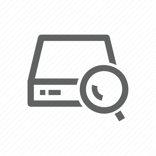 drive, external drive, magnify, magnify glass, search, server icon