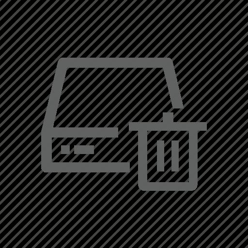 delete, drive, external drive, remove, server, trash, trash bin icon