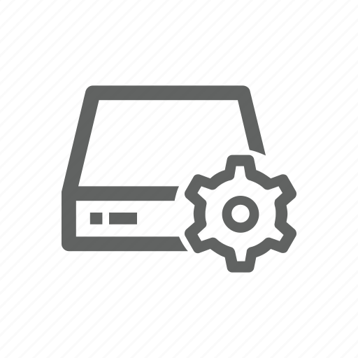 drive, external drive, gear, options, server, setting icon
