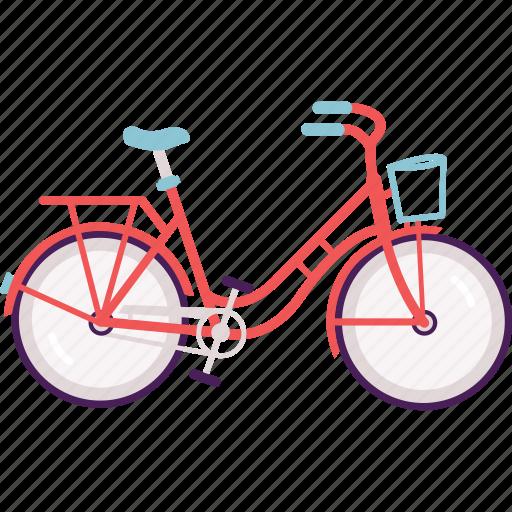 bike, city bike, cycle, transportation, vintage, women icon