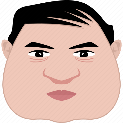 face, fat, man, old, shape, square, unhappy icon