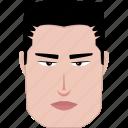 face, features, fierce, long, man, rectangle, shape