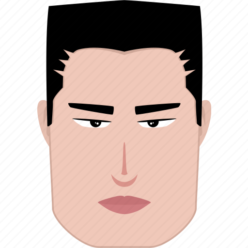 face, features, fierce, long, man, rectangle, shape icon