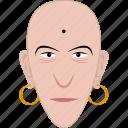 bald, earrings, face, indian, man, religious, shape