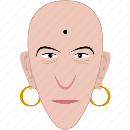 bald, earrings, face, indian, man, religious, shape icon