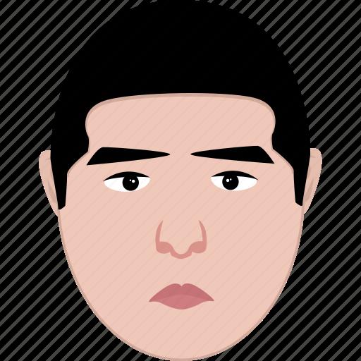 egg, face, man, middle age, oval, sad, shape icon