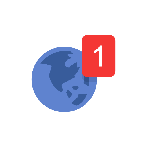 Globe notification one notification world map icon gumiabroncs Gallery