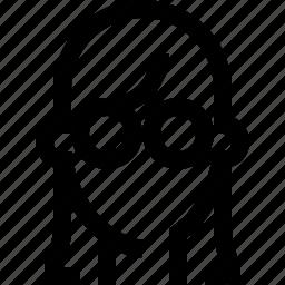 avatar, face, female, glasses, hair, long, woman icon