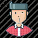 avatar, employee, expression, feeling, flirt, man, whistle icon