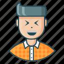 avatar, expression, feeling, happy, joy, laugh, man icon