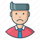 avatar, employee, expression, feeling, man, sad, unhappy icon