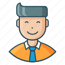 avatar, employee, expression, feeling, happy, man, satisfied icon