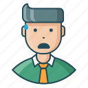 avatar, disappointe, employee, expression, feeling, man, tense icon