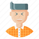 avatar, employee, expression, feeling, joy, laugh, man icon