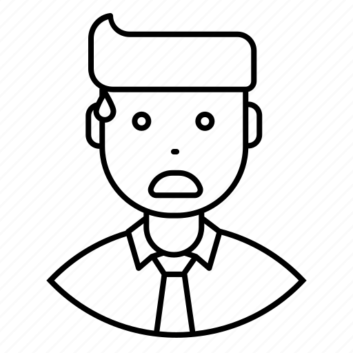 avatar, disappointe, employee, expression, feeling, man, tense icon