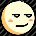 emotion, face, facial expression, smirking icon