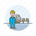 engineer, factory, helmet, man, plant, power, production icon