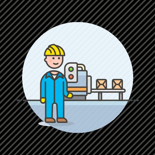 engineer, factory, helmet, man, plant, power, production icon