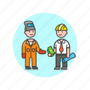 engineer, payment, deal, factory, mask, business, suit