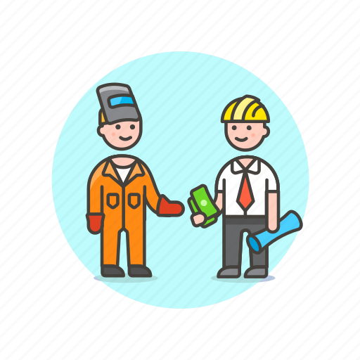 business, deal, engineer, factory, mask, payment, suit icon