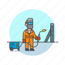 build, engineer, factory, maintainance, man, mask, torch icon