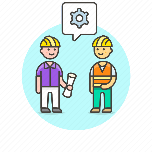 couple, discuss, engineer, factory, maintainance, screw, setting icon