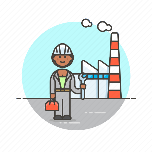 construction, engineer, factory, helmet, industry, power, woman icon
