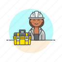 box, engineer, equipment, factory, helmet, industry, woman icon