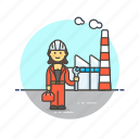 engineer, factory, helmet, industry, plant, power, woman icon