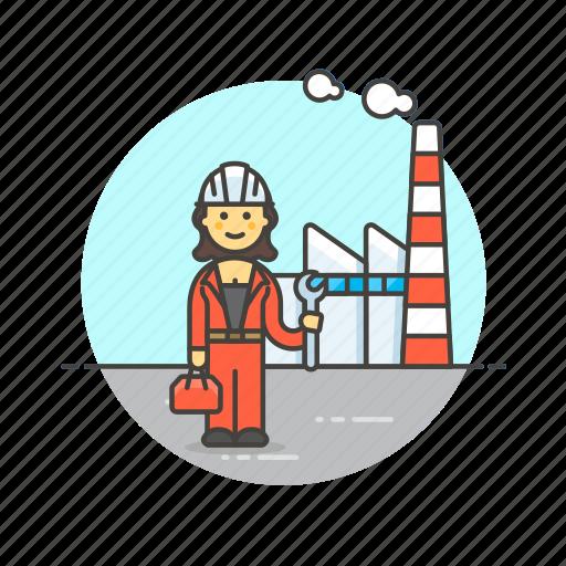 engineer, factory, helmet, industry, plant, power, woman icon