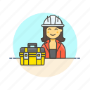 engineer, equipment, factory, helmet, industry, tool, woman icon
