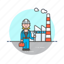 engineer, factory, helmet, industry, property, tool, woman icon
