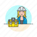 box, engineer, equipment, factory, helmet, industry, tool, woman icon