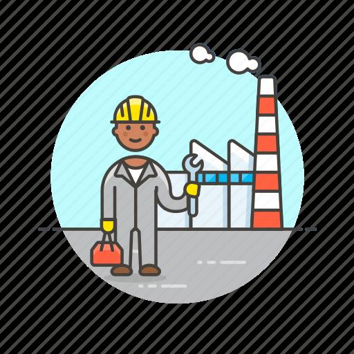 building, energy, engineer, factory, helmet, industry, man, power icon