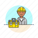 box, engineer, equipment, factory, helmet, industry, man, tool icon