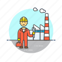 engineer, factory, helmet, industry, man, plant, power icon