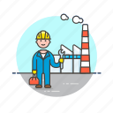 construction, engineer, factory, helmet, industry, man, tool icon