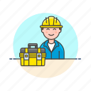 engineer, equipment, factory, helmet, industry, man, tool icon