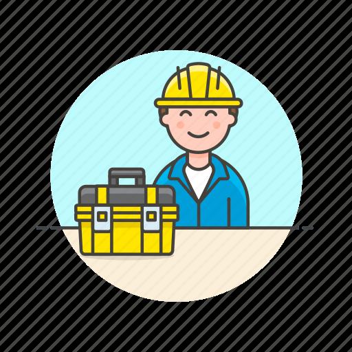 engineer, equipment, factory, helmet, industry, man, tool icon