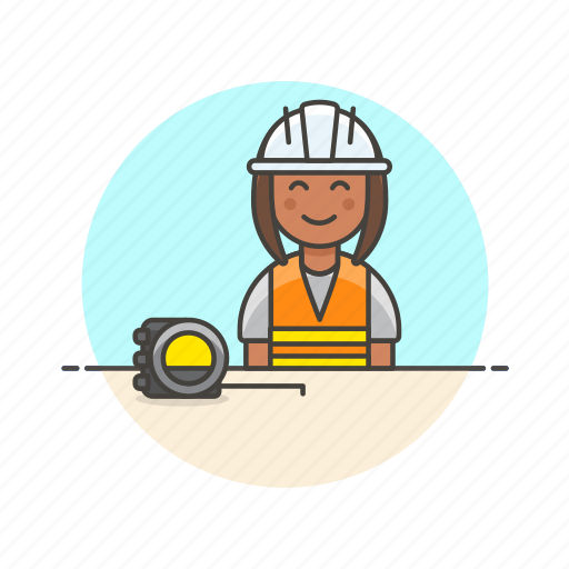 engineer, factory, helmet, industry, installation, measure, team, woman icon