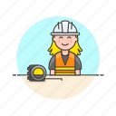 engineer, factory, helmet, industry, installation, measure, team, woman icon