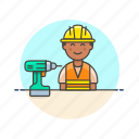 drill, engineer, factory, helmet, industry, installation, man, team icon