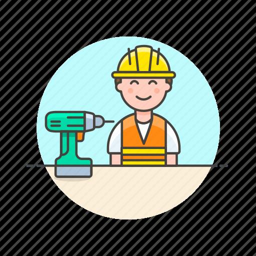 drill, engineer, factory, helmet, industry, installation, man, team icon