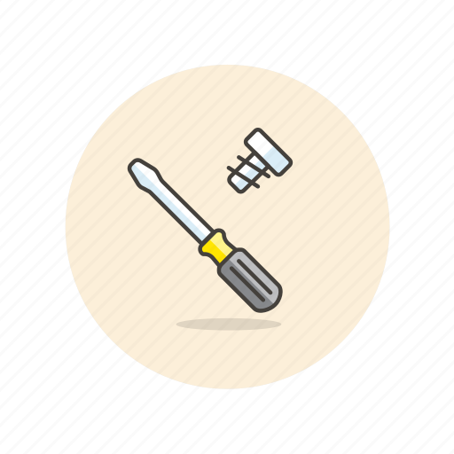 assemble, build, equipment, factory, screw, screwdriver, tool icon