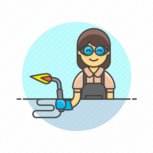 factory, glasses, protect, secure, torch, welder, woman icon