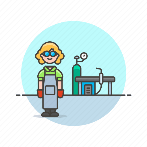factory, glasses, power, protect, suit, welder, woman, work icon