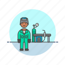 factory, man, mask, power, protect, suit, welder icon