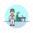 energy, factory, man, mask, plant, power, welder icon