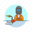 factory, fire, mask, protect, torch, welder, work icon